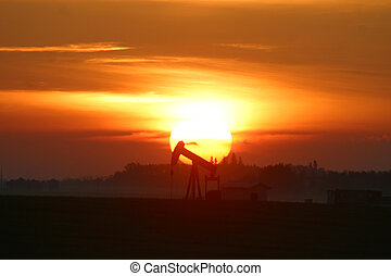 pump jack at sunrise