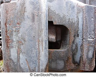 Railcar Hitch - Railcar hitch, rusted