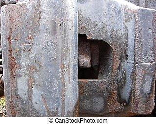Railcar Hitch - Railcar hitch, rusted