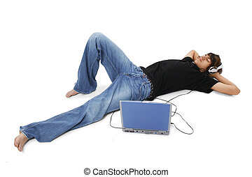 Boy Teen Music - Boy Teenager Laying On Floor Listening To...