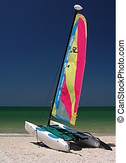 Catamaran - A colorful catamaran on the beach