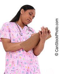 mulher, enfermeira, saúde