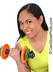 Woman Sport Weights - Beautiful Young Woman With Colorful...