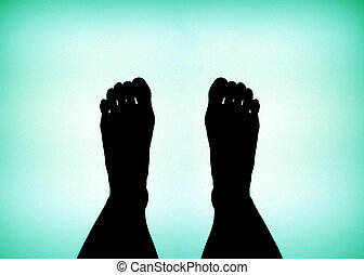 Feet - Body part - feet on a blue green background