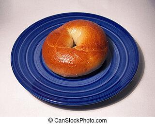 Yummy Bagel - Bagel on a Blue Plate
