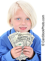 Girl Child Money - Beautiful young girl wearing large man's...