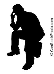Silhouette Man - Silhouette over white with clipping path....