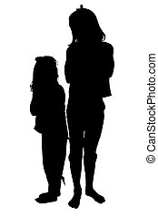 Silhouette Children - Silhouette over white with clipping...