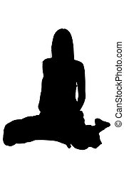 Silhouette With Clipping Path of Woman Sitting - Silhouette...