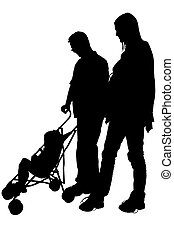 Silhouette Family - Silhouette over white with clipping path...