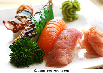 Nigiri Sushi - Fresh tuna, atlantic salmon and jumbo shrimp...