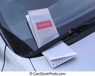 estacionamento, bilhete
