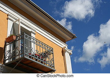Balcony of a claasicistic house in Estonia.