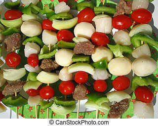 shish kabobs - platter of ready to cook kabobs