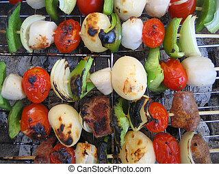 barbecued kabobs - barbecuing shish kabobs