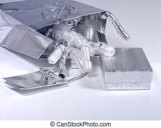 Silver gift - Silver toned gift bag, box, card and ribbons