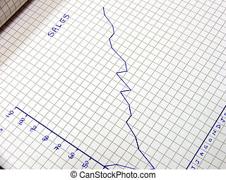 Sales Graph - Hand drawn sales graph dshowing an upwards...
