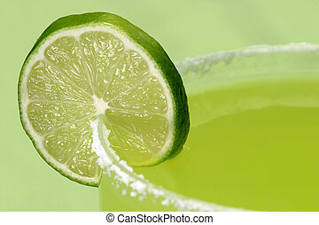 Juicy Lime and Salt - a closeup of a juicy lime on the salty...