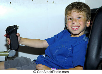 Flight Sim - Child in a Flight Simulator
