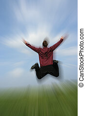 happy businessman - Picture of a business man jumping with...