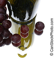 Wine - Green bottle and red grapes
