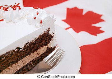 Cake slice - Delicious chocolate cake and Canadian Flag