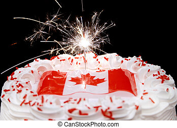Canada themed cake and sparkler