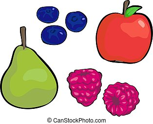Fruit - pear, red apple, blueberries, raspberries