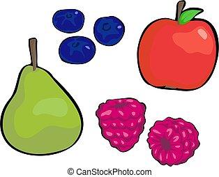 Fruit - pear, red apple, blueberries, raspberries
