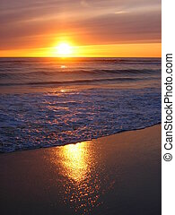 Warm Yellow Sunset - A view from the beach with a yellow...