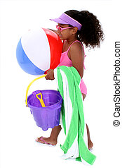 Gril Child Beach Fun - Adorable Young Girl Ready for the...