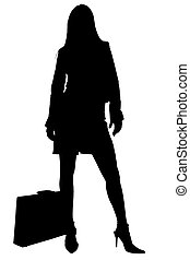 Silhouette With Clipping Path of Business Woman with...