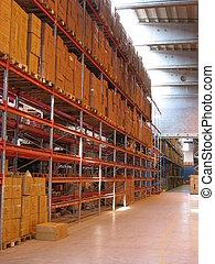 A Corridor Inside A - A corridor of shelves inside a...