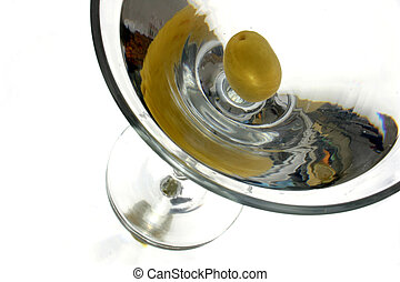 Vodka Martini close - Vodka martini with single olive...