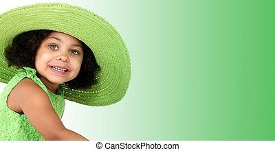 niña, niño, sombrero, verde