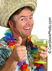 Margarita Man Thumb - a man in a hawaiian shirt with a lei a...