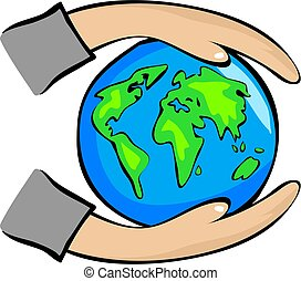 Protect the Earth - hands holding the world