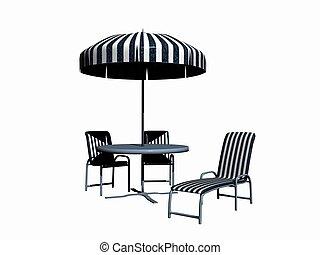 Garden set. - A pergola, garden furniture set. Created with...