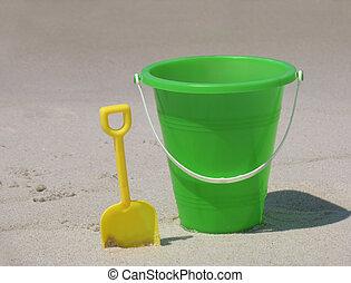 beach bucket sand