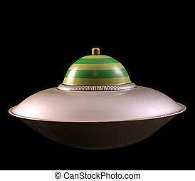 Space Ship - A retro looking space ship isolated on a black...