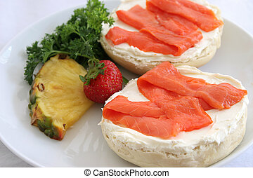 Bagel and Lox Closeup - A closeup photo of a bagel and cream...