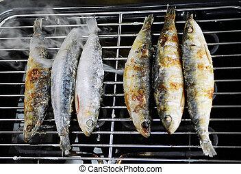 smoked sardines - grilling sardines
