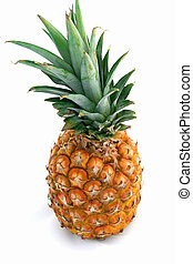 Whole Pinapple - A whole pineapple isolated against a white...