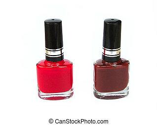 nail polish - red and brown nail polish