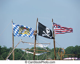Ahoy - British flag, private crest, and Jolly Roger...