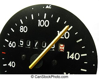 Speedometer - close-up of a speedometer from a car, isolated...