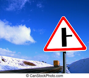 Road sign in winter landscape reupload File Number: 0056494