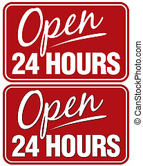 Open 24 hours - Open 24 Hours sign. Top sign flat style....