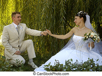 wedding couple in romantic style - romantic wedding couple