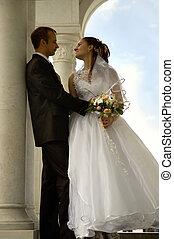 romanticos, casório, par